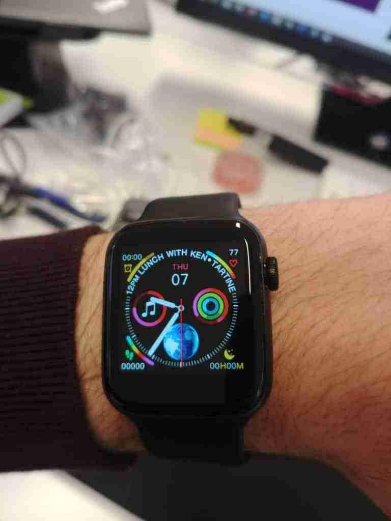 xwatch smartwatch on left wrist
