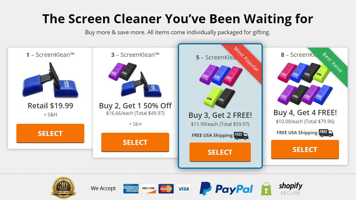 Screenklean prices
