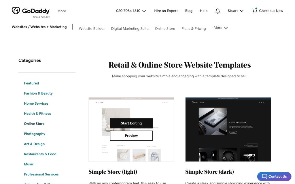 godaddy-online-store-templates
