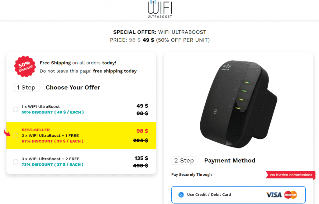 pricing for wifi ultraboost device
